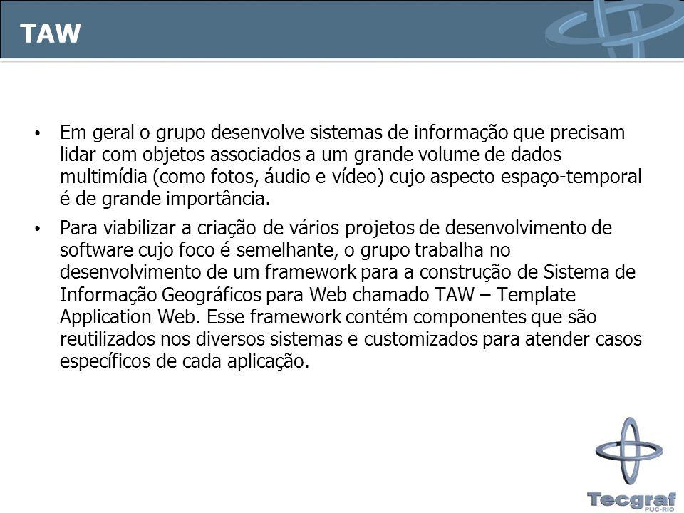 TAW Exemplos de componentes: – Tratamento de acesso ao Banco de Dados – Interface Gráfica – Tratamento de workflow Projetos atendidos pelo TAW: – SIAE – SIMU – SIRVA – SIGEC – MAPS – MAPOTECA