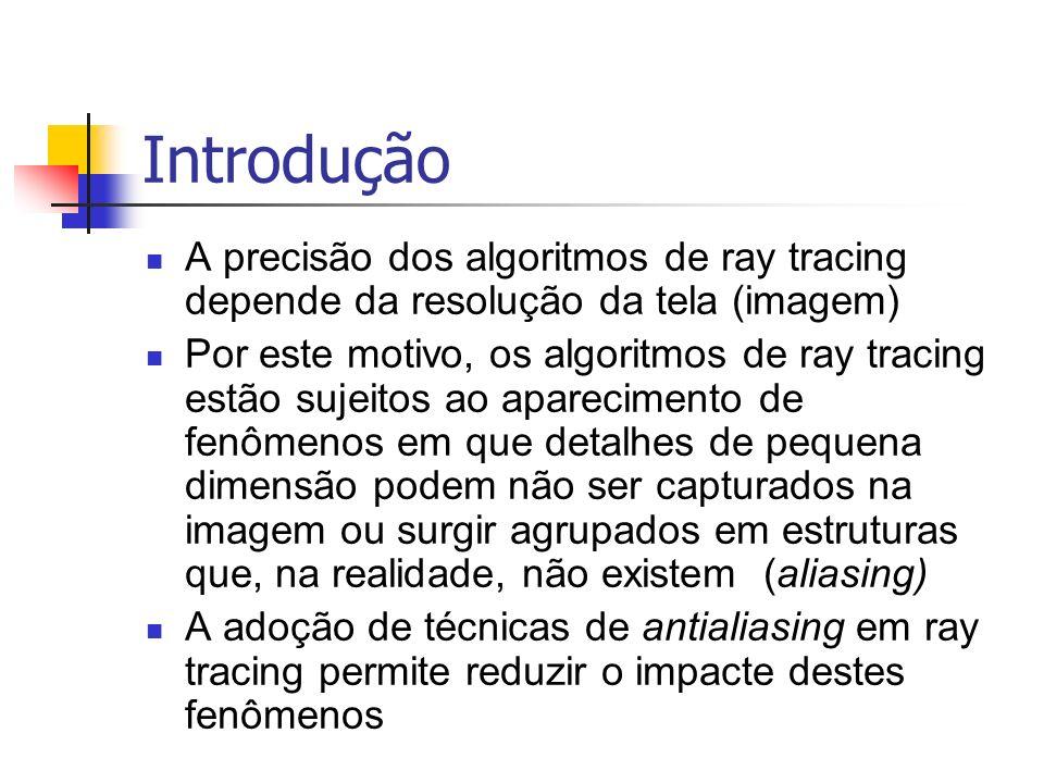Introdução A precisão dos algoritmos de ray tracing depende da resolução da tela (imagem) Por este motivo, os algoritmos de ray tracing estão sujeitos