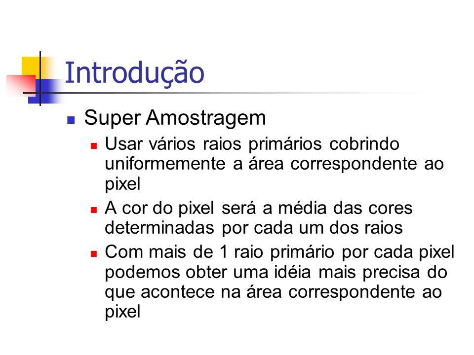 Introdução Super Amostragem Usar vários raios primários cobrindo uniformemente a área correspondente ao pixel A cor do pixel será a média das cores de