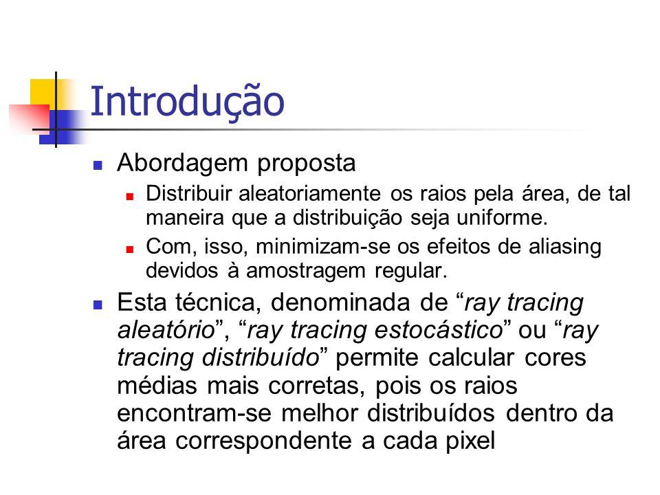 Introdução Abordagem proposta Distribuir aleatoriamente os raios pela área, de tal maneira que a distribuição seja uniforme. Com, isso, minimizam-se o