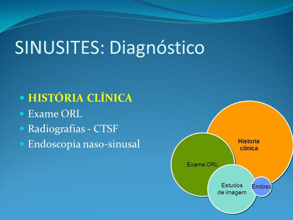 SINUSITES: Diagnóstico HISTÓRIA CLÍNICA Exame ORL Radiografias - CTSF Endoscopia naso-sinusal Historia clínica Historia clínica Exame ORL Estudos de i