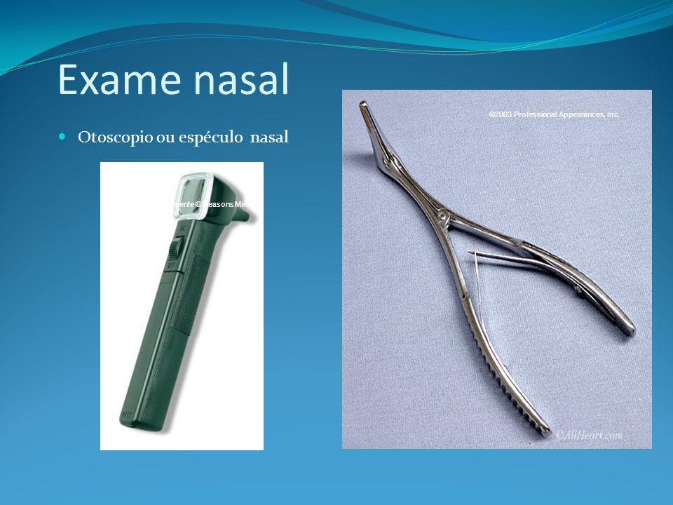 Exame nasal Otoscopio ou espéculo nasal aparentemente © Reasons Medical ©2003 Professional Appearances, Inc.