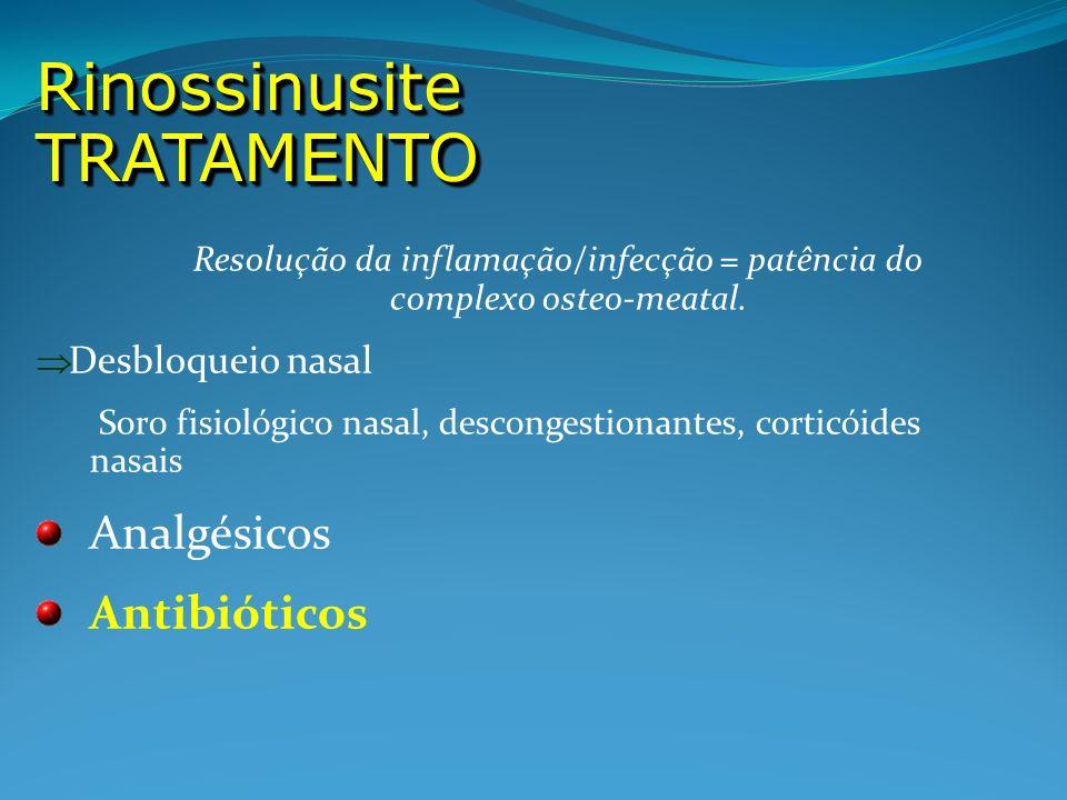 Resolução da inflamação/infecção = patência do complexo osteo-meatal. Desbloqueio nasal Soro fisiológico nasal, descongestionantes, corticóides nasais
