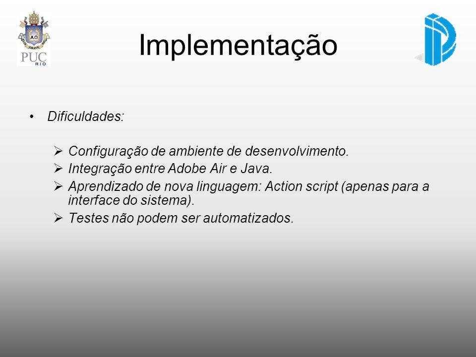 Implementação Dificuldades: Configuração de ambiente de desenvolvimento. Integração entre Adobe Air e Java. Aprendizado de nova linguagem: Action scri