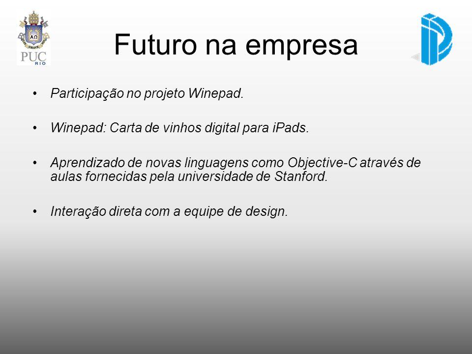 Futuro na empresa Participação no projeto Winepad. Winepad: Carta de vinhos digital para iPads. Aprendizado de novas linguagens como Objective-C atrav