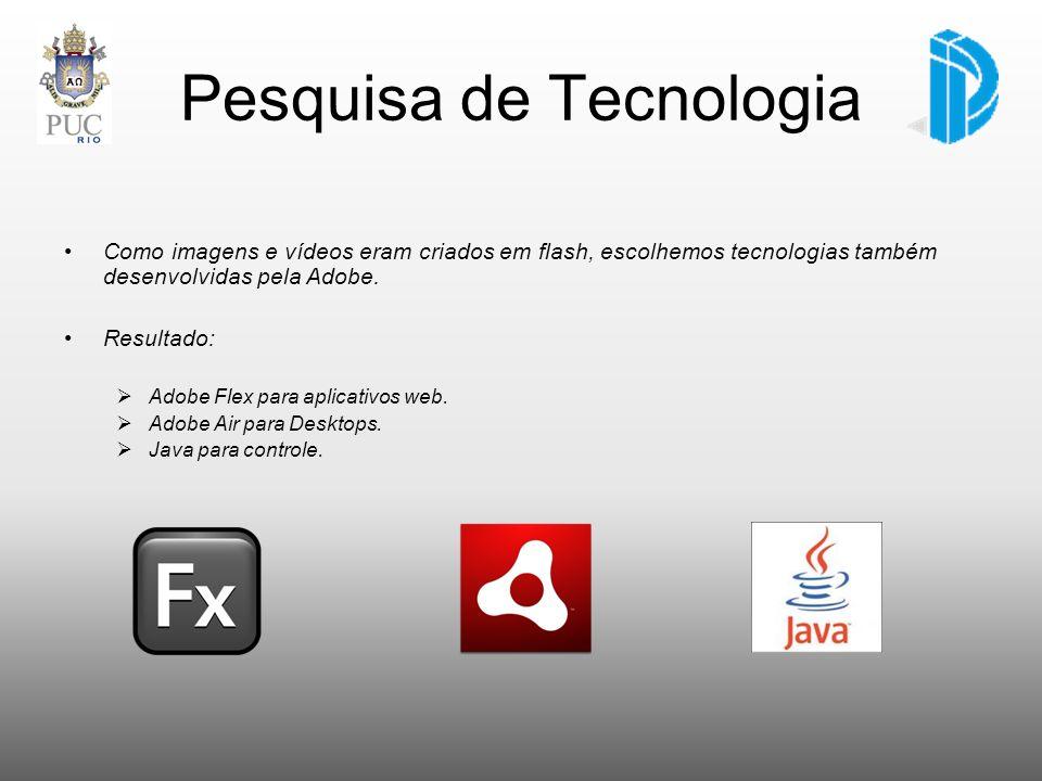Pesquisa de Tecnologia Como imagens e vídeos eram criados em flash, escolhemos tecnologias também desenvolvidas pela Adobe. Resultado: Adobe Flex para