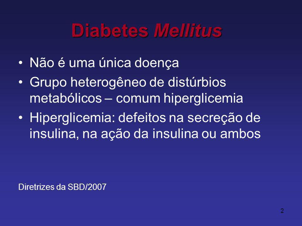 2 Não é uma única doença Grupo heterogêneo de distúrbios metabólicos – comum hiperglicemia Hiperglicemia: defeitos na secreção de insulina, na ação da insulina ou ambos Diretrizes da SBD/2007 Diabetes Mellitus