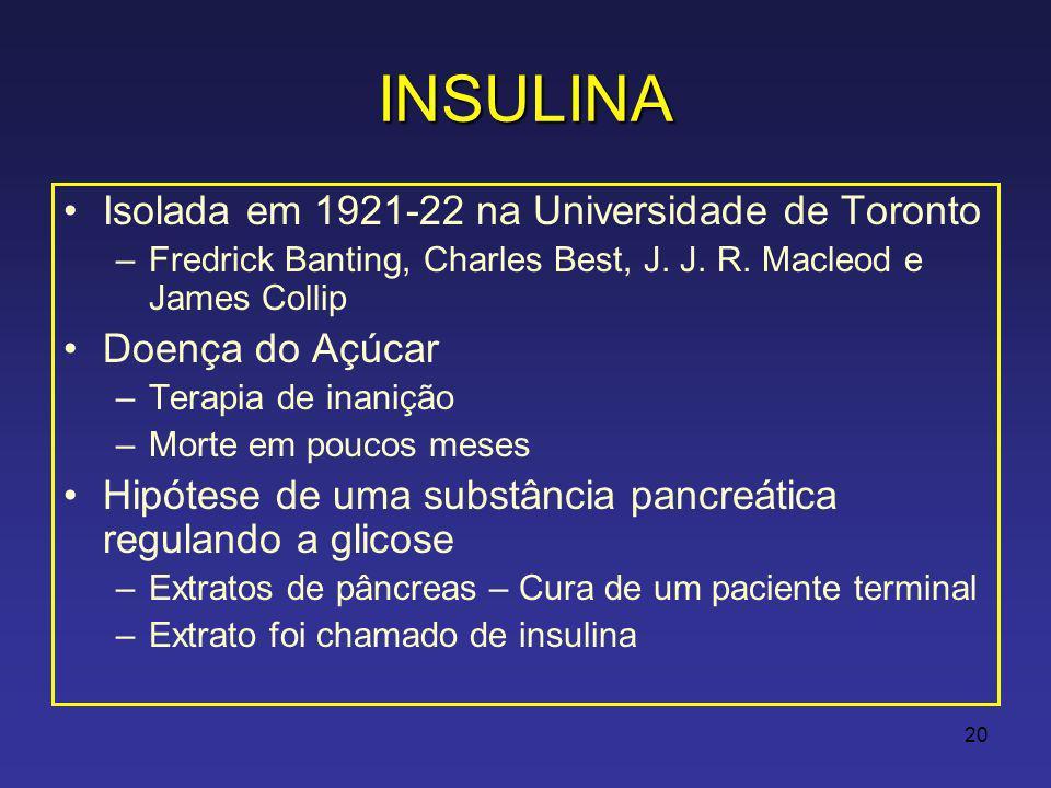 20 INSULINA Isolada em 1921-22 na Universidade de Toronto –Fredrick Banting, Charles Best, J.