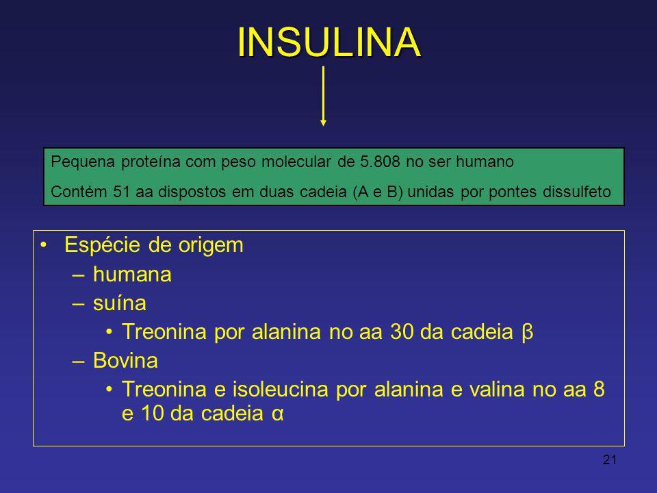 21INSULINA Espécie de origem –humana –suína Treonina por alanina no aa 30 da cadeia β –Bovina Treonina e isoleucina por alanina e valina no aa 8 e 10 da cadeia α Pequena proteína com peso molecular de 5.808 no ser humano Contém 51 aa dispostos em duas cadeia (A e B) unidas por pontes dissulfeto
