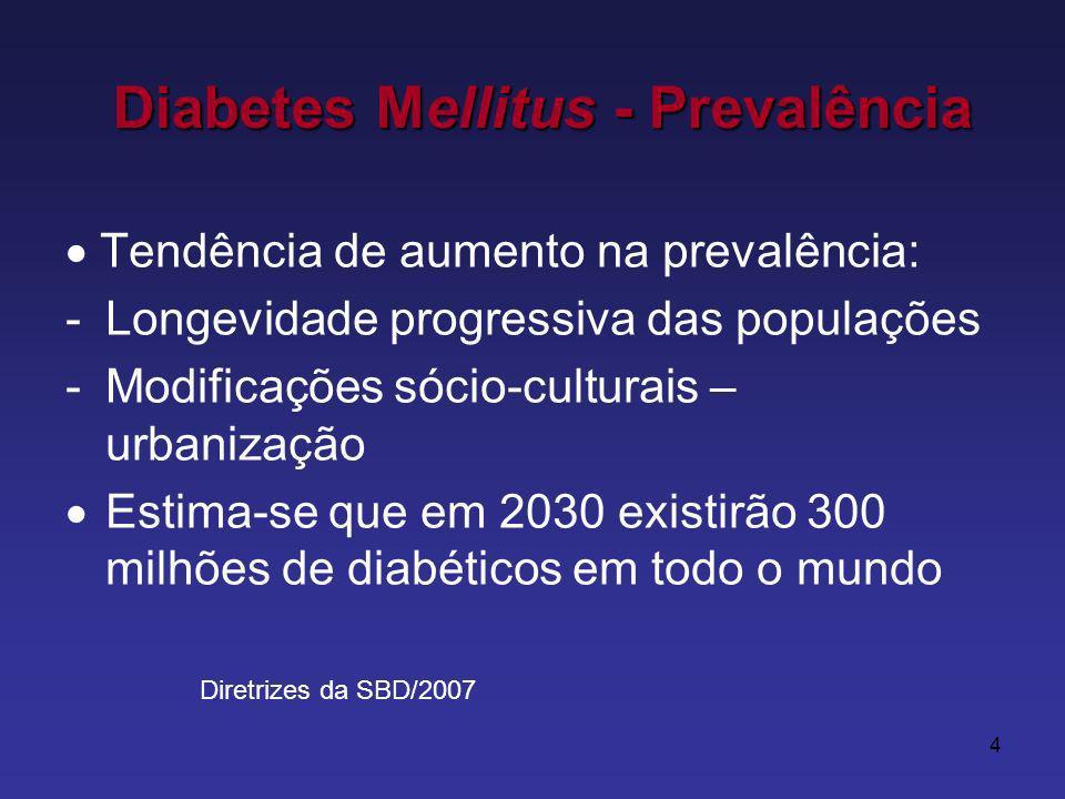 4 Tendência de aumento na prevalência: -Longevidade progressiva das populações -Modificações sócio-culturais – urbanização Estima-se que em 2030 existirão 300 milhões de diabéticos em todo o mundo Diabetes Mellitus - Prevalência Diretrizes da SBD/2007