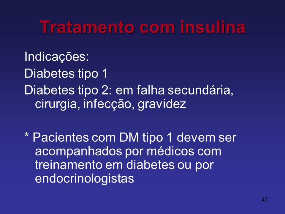 42 Tratamento com insulina Indicações: Diabetes tipo 1 Diabetes tipo 2: em falha secundária, cirurgia, infecção, gravidez * Pacientes com DM tipo 1 devem ser acompanhados por médicos com treinamento em diabetes ou por endocrinologistas