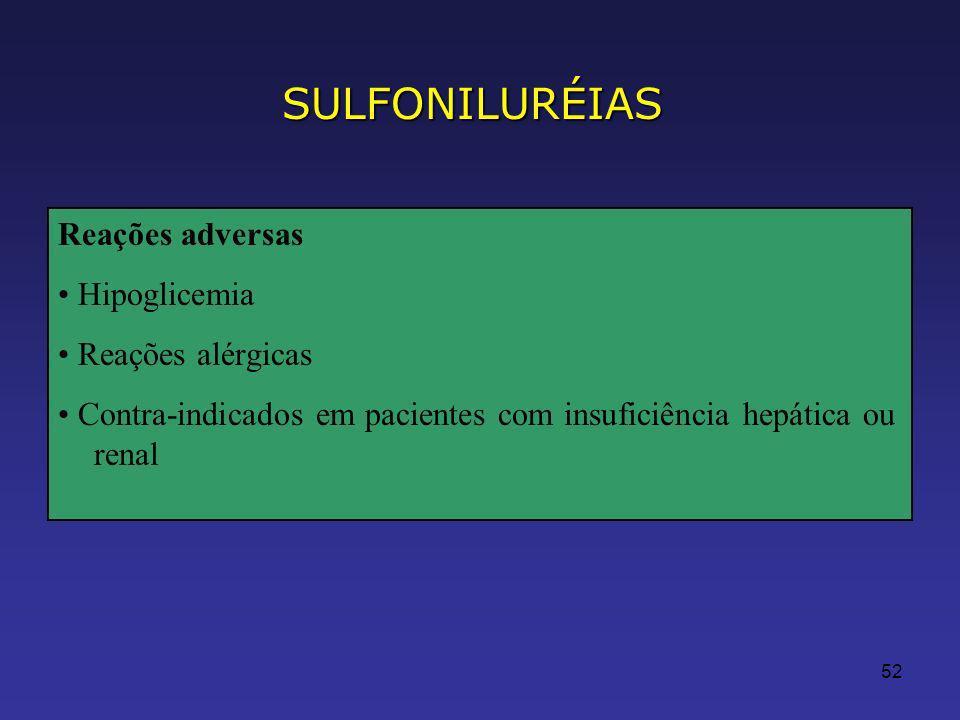 52 Reações adversas Hipoglicemia Reações alérgicas Contra-indicados em pacientes com insuficiência hepática ou renal SULFONILURÉIAS
