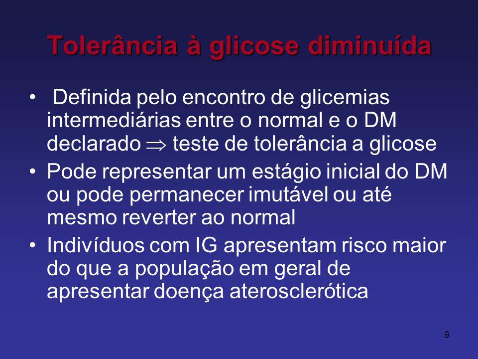 9 Tolerância à glicose diminuída Definida pelo encontro de glicemias intermediárias entre o normal e o DM declarado teste de tolerância a glicose Pode representar um estágio inicial do DM ou pode permanecer imutável ou até mesmo reverter ao normal Indivíduos com IG apresentam risco maior do que a população em geral de apresentar doença aterosclerótica