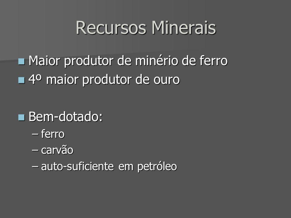 Recursos Minerais Maior produtor de minério de ferro Maior produtor de minério de ferro 4º maior produtor de ouro 4º maior produtor de ouro Bem-dotado: Bem-dotado: –ferro –carvão –auto-suficiente em petróleo