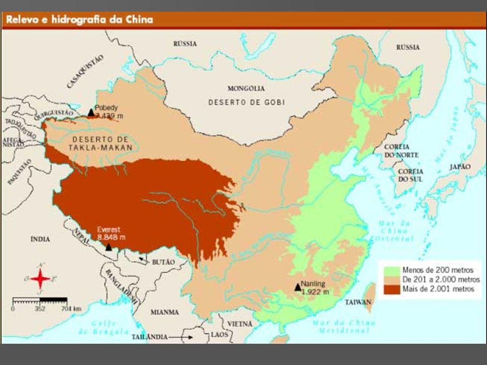 Ocupação Humana População chinesa População chinesa Homogeneidade étnica Homogeneidade étnica –6% não-chineses Heterogeneidade Heterogeneidade –ocupação espacial Grande população Grande população –Crescimento vegetativo de 0,9% a.a.