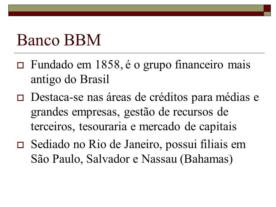 Banco BBM Fundado em 1858, é o grupo financeiro mais antigo do Brasil Destaca-se nas áreas de créditos para médias e grandes empresas, gestão de recur