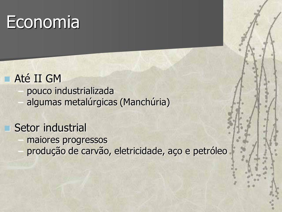 Economia Até II GM Até II GM –pouco industrializada –algumas metalúrgicas (Manchúria) Setor industrial Setor industrial –maiores progressos –produção