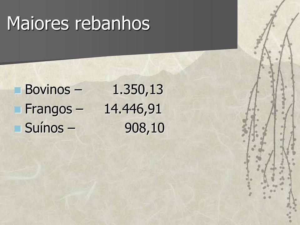 Maiores rebanhos Bovinos – 1.350,13 Bovinos – 1.350,13 Frangos – 14.446,91 Frangos – 14.446,91 Suínos – 908,10 Suínos – 908,10