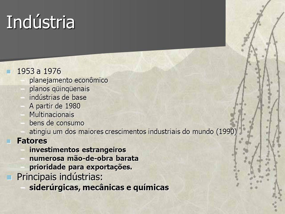 Indústria 1953 a 1976 1953 a 1976 –planejamento econômico –planos qüinqüenais –indústrias de base –A partir de 1980 –Multinacionais –bens de consumo –