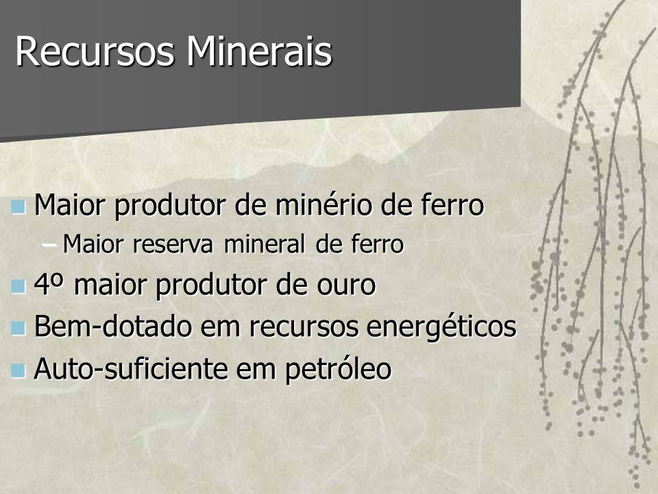 Recursos Minerais Maior produtor de minério de ferro Maior produtor de minério de ferro –Maior reserva mineral de ferro 4º maior produtor de ouro 4º m
