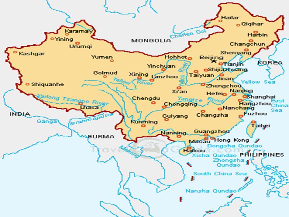 Quadro Natural China Ocidental China Ocidental Tibet Tibet –Sinkiang –Mongólia Interior Grandes enrugamentos do Terciário Grandes enrugamentos do Terciário –Elevadas cadeias –altitudes médias 4000m Longe de influências oceânicas Longe de influências oceânicas –Climas secos (árido e semi-árido) –Hidrografia intermitente – chuvas reduzidas –Região inóspita Planaltos mais baixos (Mongólia Interior) Planaltos mais baixos (Mongólia Interior)