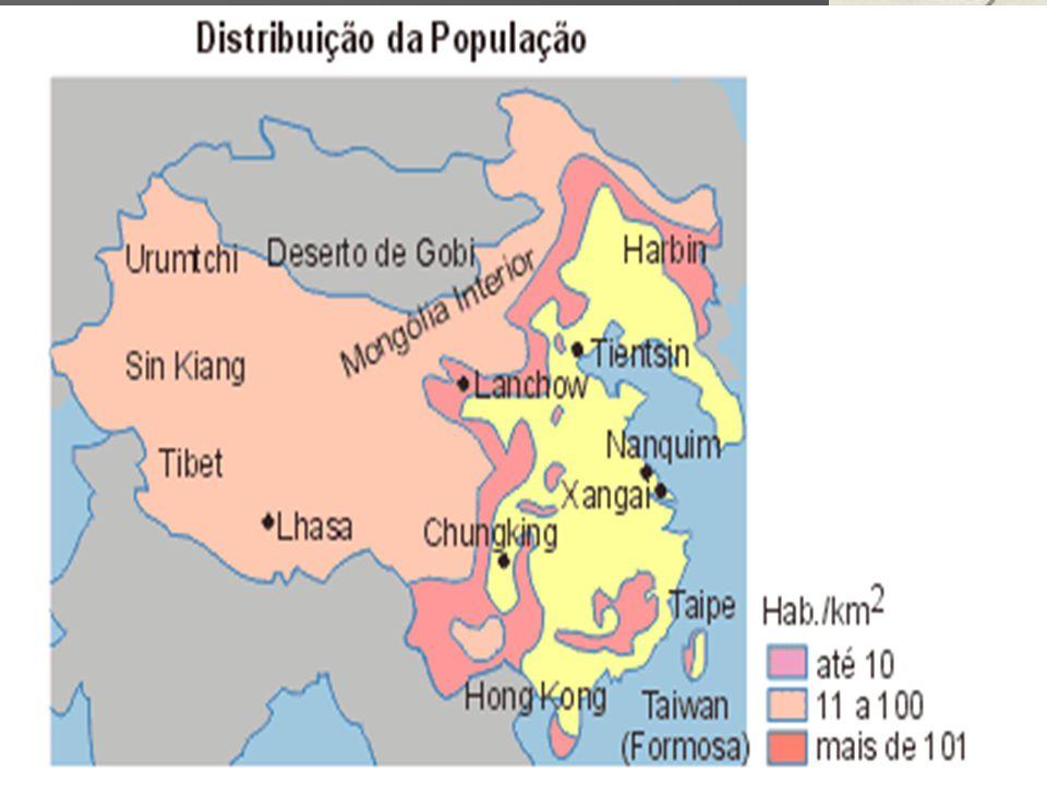 1992 1992 –início da construção da Usina de Três Gargantas –Conclusão em 2009 Impacto ambiental e social: Impacto ambiental e social: –10 cidades –800 povoados –1,3 milhões de pessoas atingidas pela inundação.