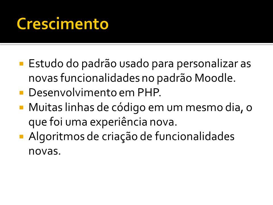 Estudo do padrão usado para personalizar as novas funcionalidades no padrão Moodle. Desenvolvimento em PHP. Muitas linhas de código em um mesmo dia, o