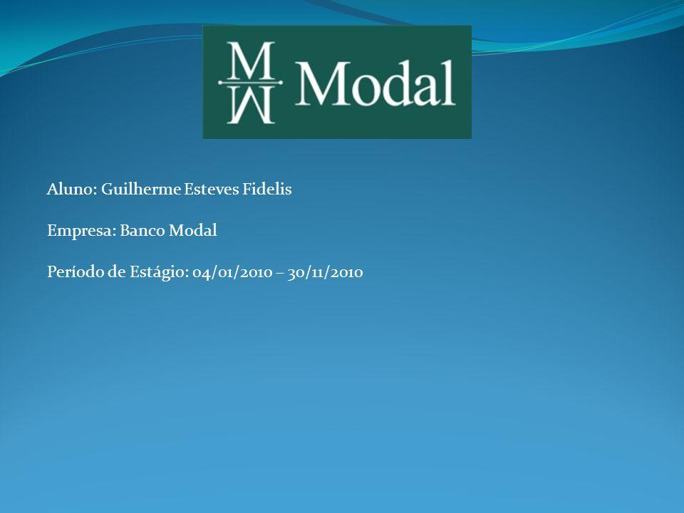 Aluno: Guilherme Esteves Fidelis Empresa: Banco Modal Período de Estágio: 04/01/2010 – 30/11/2010