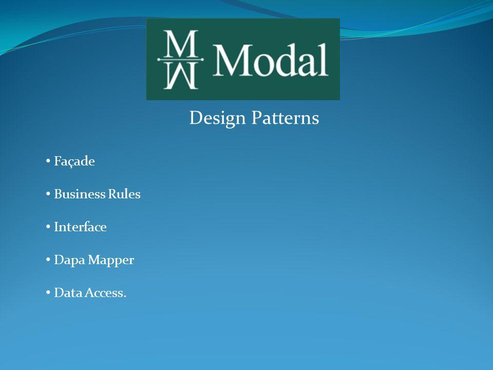 Design Patterns A Façade é a camada de entrada, enxergada por todos os sistemas, incluindo os que acessam via WebService, como as planilhas em VBA.