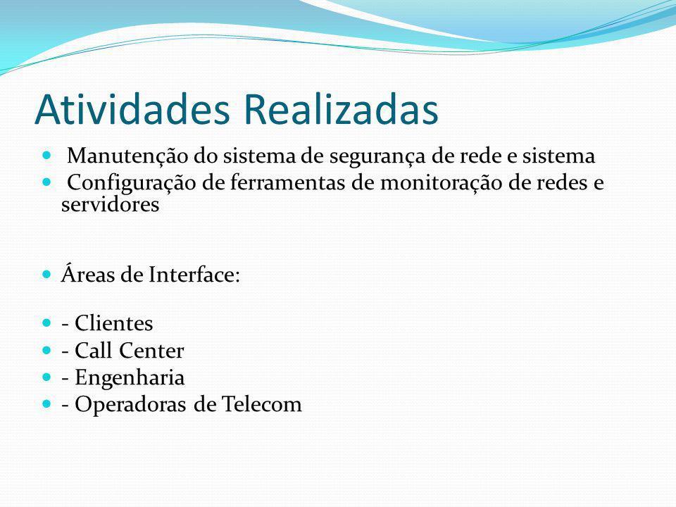 Atividades Realizadas Manutenção do sistema de segurança de rede e sistema Configuração de ferramentas de monitoração de redes e servidores Áreas de I