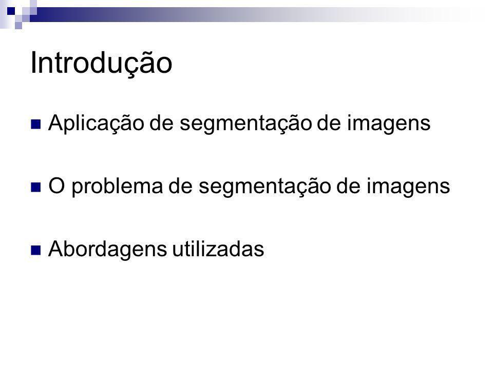 Introdução Aplicação de segmentação de imagens O problema de segmentação de imagens Abordagens utilizadas