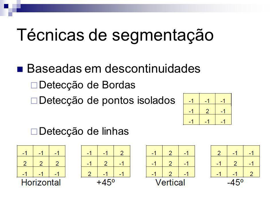 Técnicas de segmentação Baseadas em descontinuidades Detecção de Bordas Detecção de pontos isolados Detecção de linhas