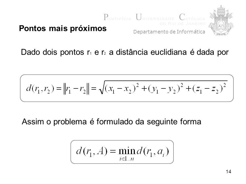 14 Pontos mais próximos Departamento de Informática Dado dois pontos r 1 e r 2 a distância euclidiana é dada por Assim o problema é formulado da segui