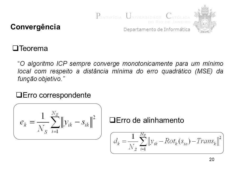 20 Convergência Departamento de Informática Teorema O algoritmo ICP sempre converge monotonicamente para um mínimo local com respeito a distância mínima do erro quadrático (MSE) da função objetivo.