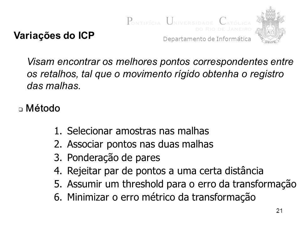 21 Variações do ICP Departamento de Informática Método 1.Selecionar amostras nas malhas 2.Associar pontos nas duas malhas 3.Ponderação de pares 4.Reje
