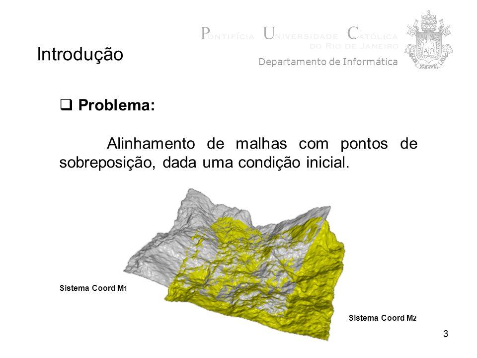 3 Problema: Alinhamento de malhas com pontos de sobreposição, dada uma condição inicial. Introdução Departamento de Informática Sistema Coord M 1 Sist