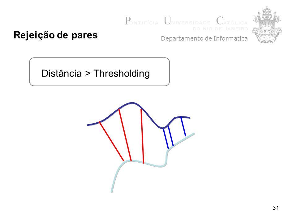31 Distância > Thresholding Departamento de Informática Rejeição de pares