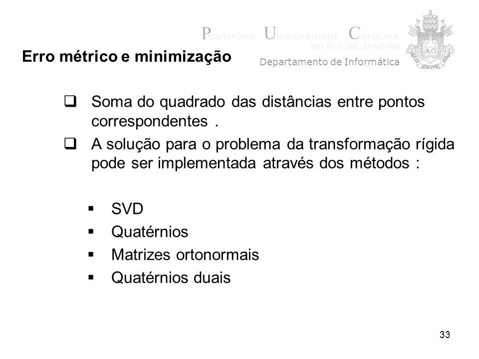 33 Soma do quadrado das distâncias entre pontos correspondentes. A solução para o problema da transformação rígida pode ser implementada através dos m