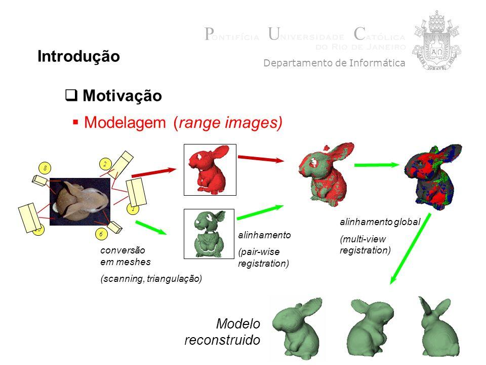 6 Introdução Departamento de Informática Motivação 1 15 8 6 2 conversão em meshes (scanning, triangulação) alinhamento (pair-wise registration) alinhamento global (multi-view registration) Modelo reconstruido Modelagem (range images)