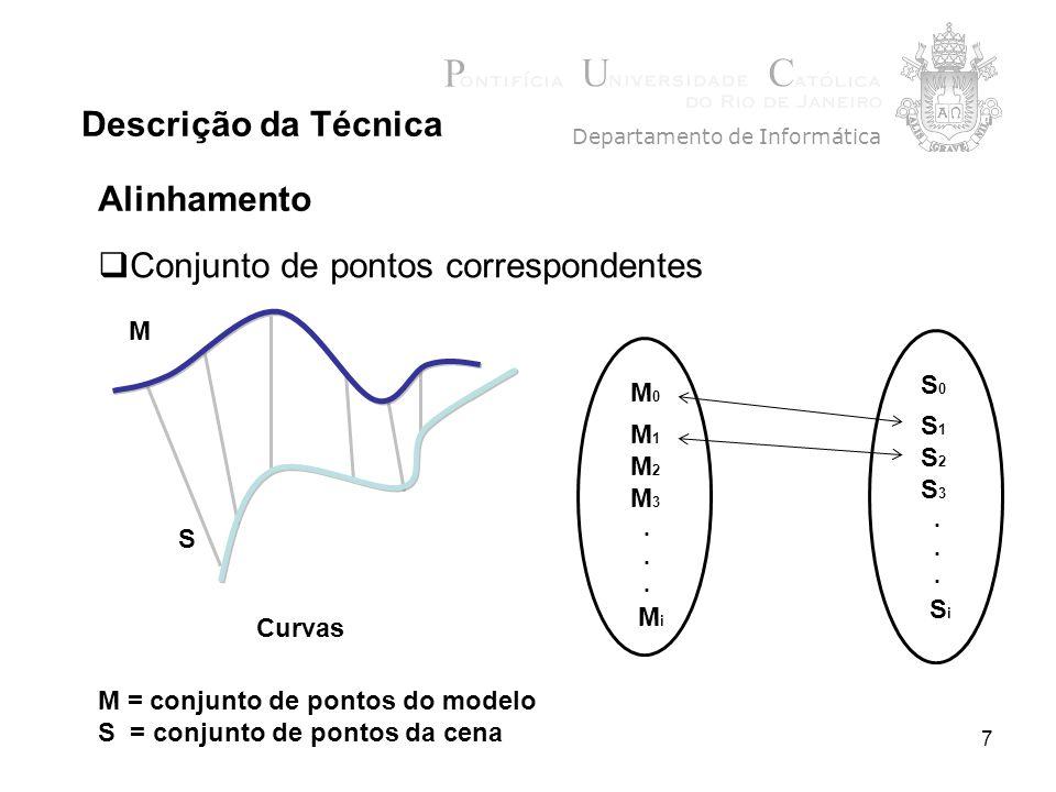 7 Descrição da Técnica Departamento de Informática M = conjunto de pontos do modelo S = conjunto de pontos da cena Curvas S M M0M0 M 1 M 2 M 3. MiMi S