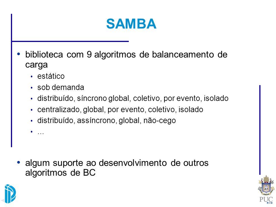 SAMBA biblioteca com 9 algoritmos de balanceamento de carga estático sob demanda distribuído, síncrono global, coletivo, por evento, isolado centraliz