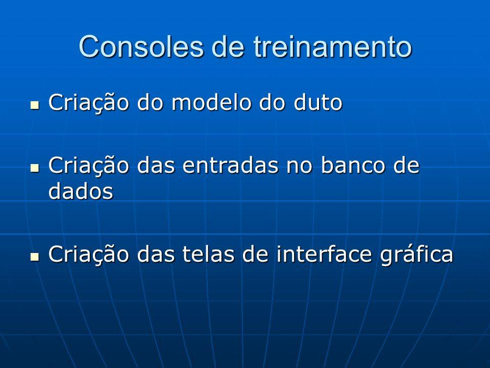 Consoles de treinamento Criação do modelo do duto Criação do modelo do duto Criação das entradas no banco de dados Criação das entradas no banco de da
