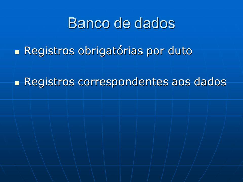Banco de dados Registros obrigatórias por duto Registros obrigatórias por duto Registros correspondentes aos dados Registros correspondentes aos dados