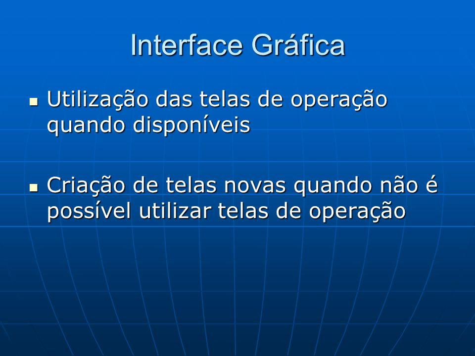 Interface Gráfica Utilização das telas de operação quando disponíveis Utilização das telas de operação quando disponíveis Criação de telas novas quand