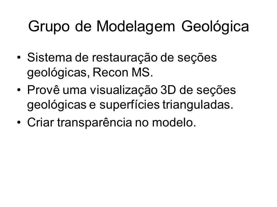 Grupo de Modelagem Geológica Sistema de restauração de seções geológicas, Recon MS. Provê uma visualização 3D de seções geológicas e superfícies trian