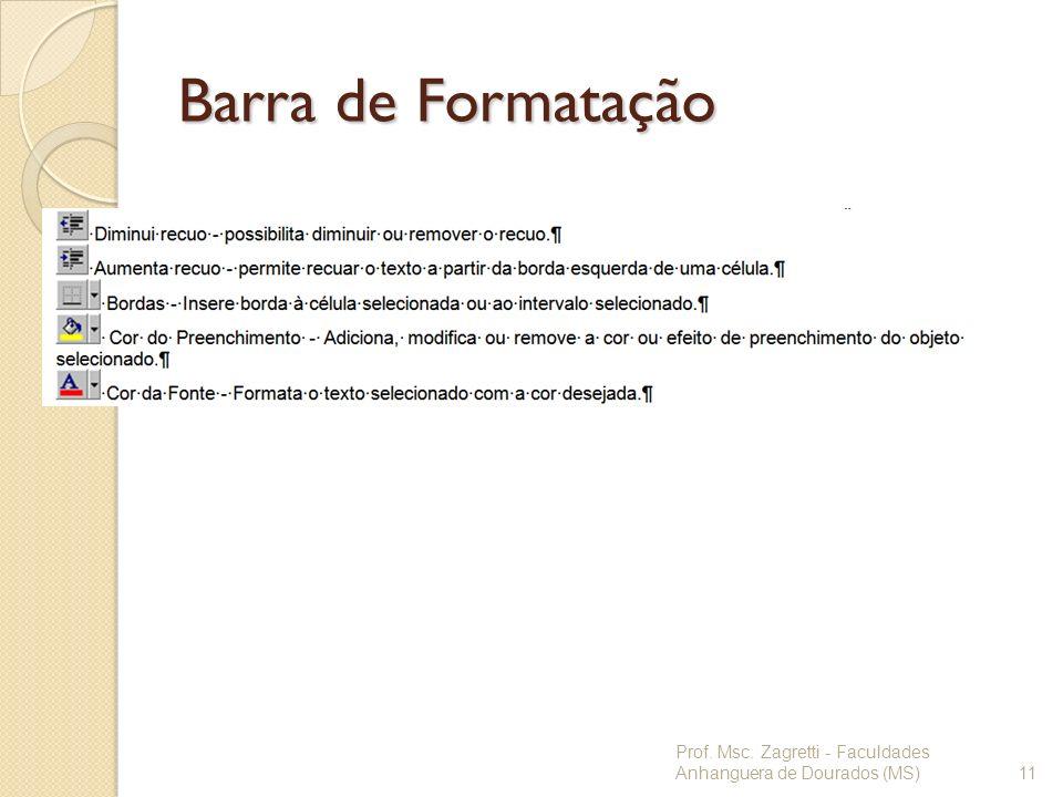 Barra de Formatação Prof. Msc. Zagretti - Faculdades Anhanguera de Dourados (MS)11