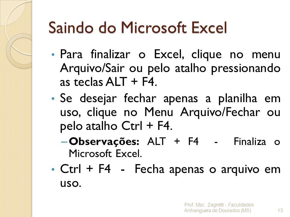 Saindo do Microsoft Excel Para finalizar o Excel, clique no menu Arquivo/Sair ou pelo atalho pressionando as teclas ALT + F4. Se desejar fechar apenas