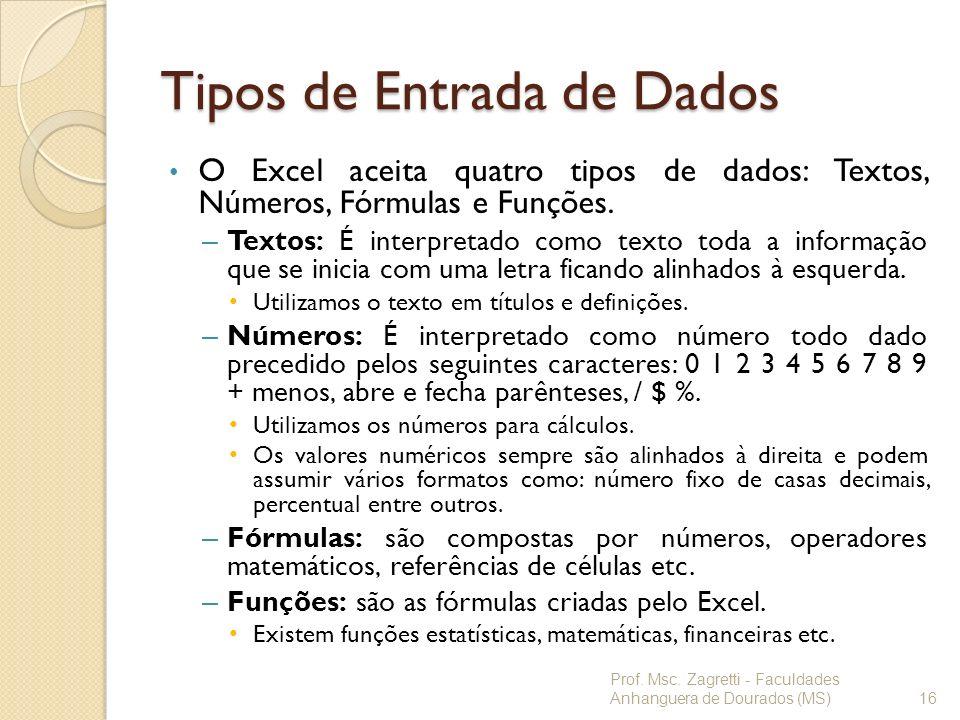 Tipos de Entrada de Dados O Excel aceita quatro tipos de dados: Textos, Números, Fórmulas e Funções. – Textos: É interpretado como texto toda a inform