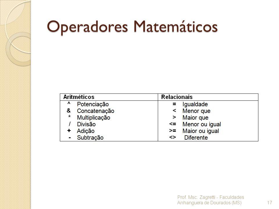 Operadores Matemáticos Prof. Msc. Zagretti - Faculdades Anhanguera de Dourados (MS)17
