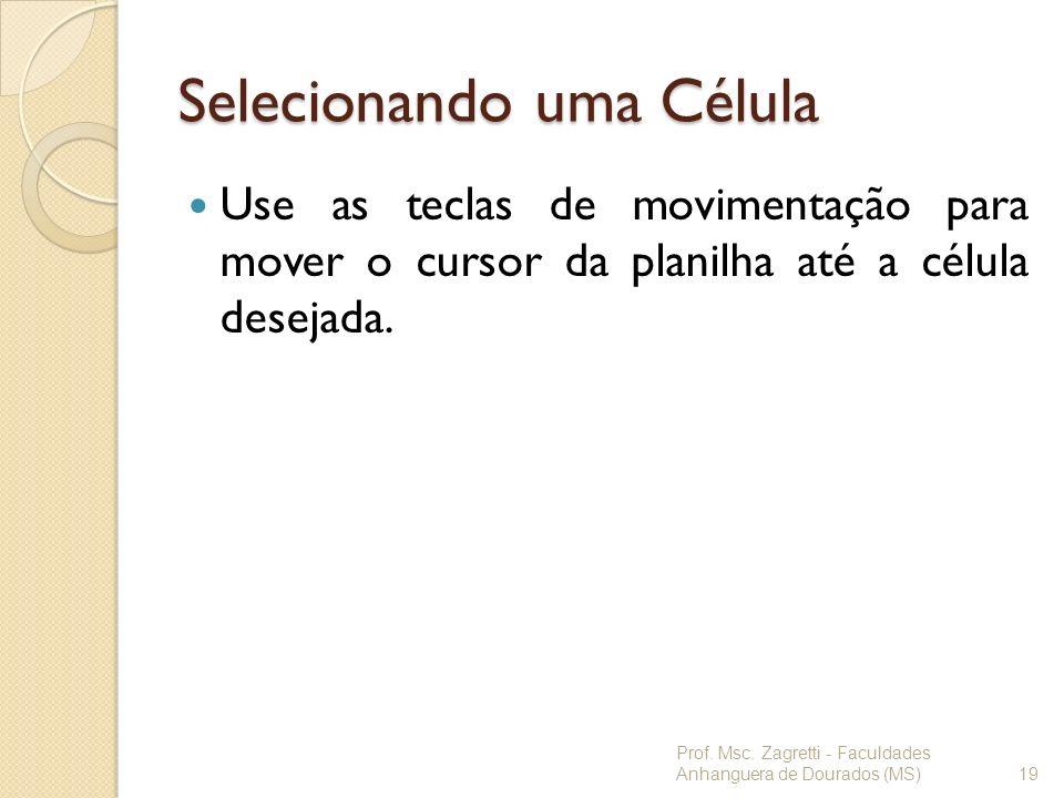 Selecionando uma Célula Use as teclas de movimentação para mover o cursor da planilha até a célula desejada. Prof. Msc. Zagretti - Faculdades Anhangue